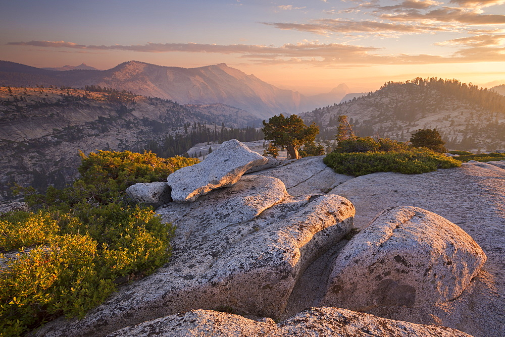 View towards Half Dome at sunset, from Olmsted Point, Yosemite National Park, UNESCO World Heritage Site, California, United States of America, North America - 799-2783