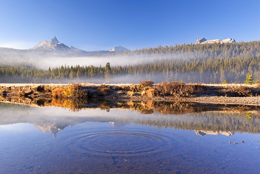 Unicorn and Cathedral Peaks reflected in the Tuolumne River, Tuolumne Meadows, Yosemite National Park, UNESCO World Heritage Site, California, United States of America, North America