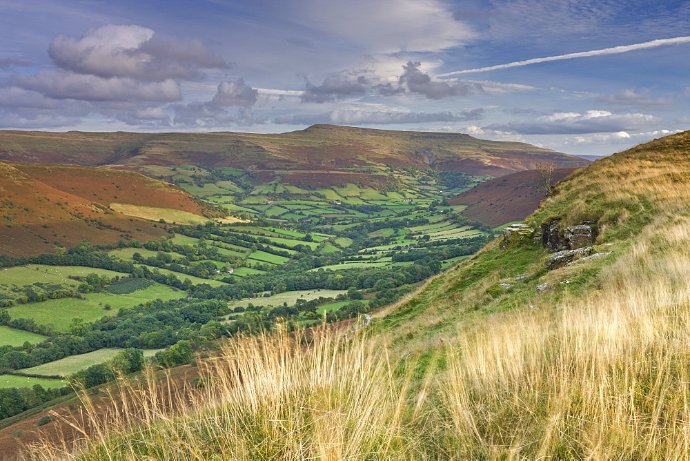 Lush green valleys of the Brecon Beacons near Waun Fach, Powys, Wales, United Kingdom, Europe
