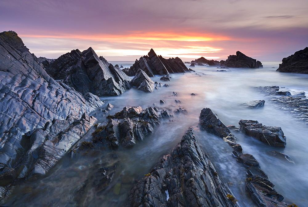 Rocky seascape at sunset, Hartland Quay, Devon, England, United Kingdom, Europe - 799-2805