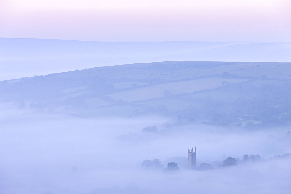 Widecombe in the Moor shrouded in morning mist, Dartmoor, Devon, England, United Kingdom, Europe