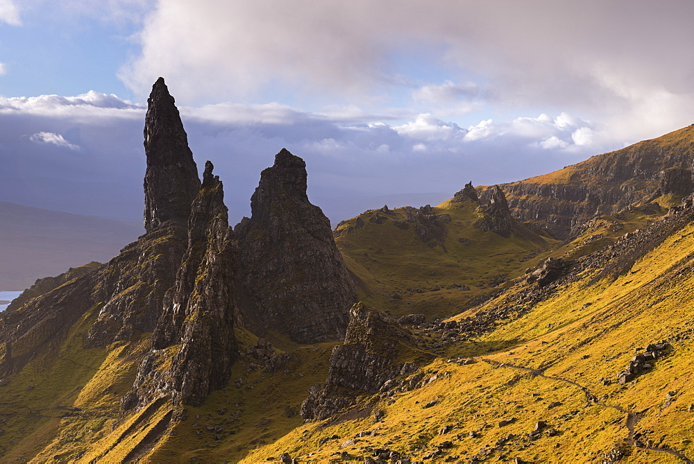 The Old Man of Storr basalt pillars on the Isle of Skye, Inner Hebrides, Scotland, United Kingdom, Europe
