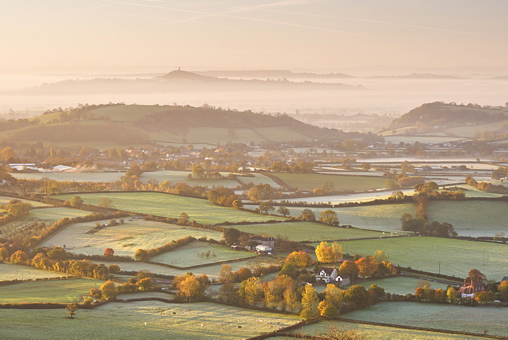 Dawn view over misty Somerset Levels countryside towards Glastonbury Tor in autumn, Somerset, England, United Kingdom, Europe