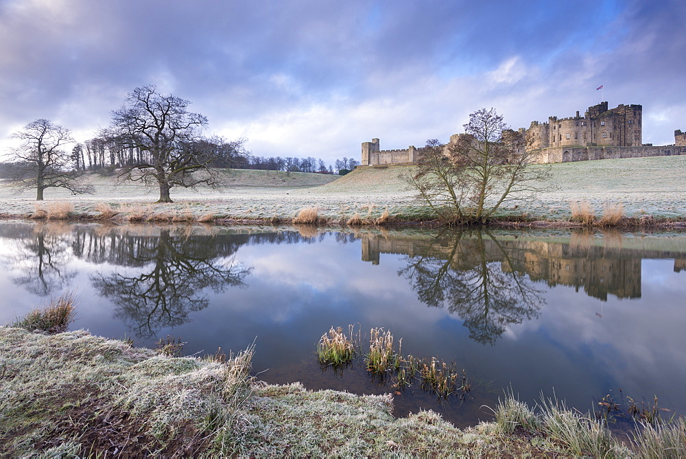 Alnwick Castle on a frosty winter morning, Alnwick, Northumberland, England, United Kingdom, Europe
