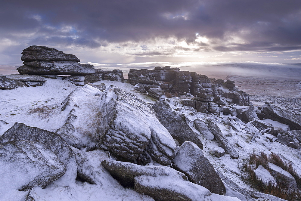Snow covered granite rocks at Great Mis Tor in winter, Dartmoor National Park, Devon, England, United Kingdom, Europe - 799-2914
