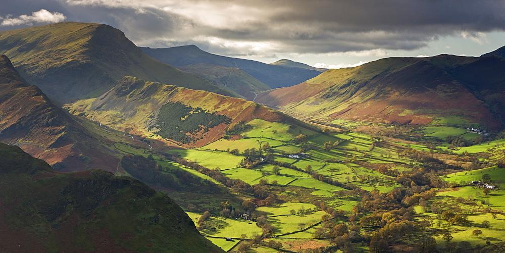 Rich autumn sunlight illuminates Newlands Valley in the Lake District, Cumbria, England, United Kingdom, Europe
