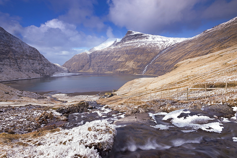 Snow and ice covered landscape at Saksun on the island of Streymoy, Faroe Islands, Denmark, Europe