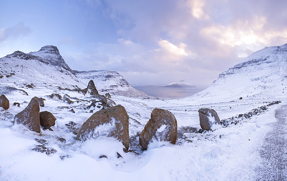 Snow covered mountains in winter on the island of Streymoy in the Faroe Islands, Denmark, Europe