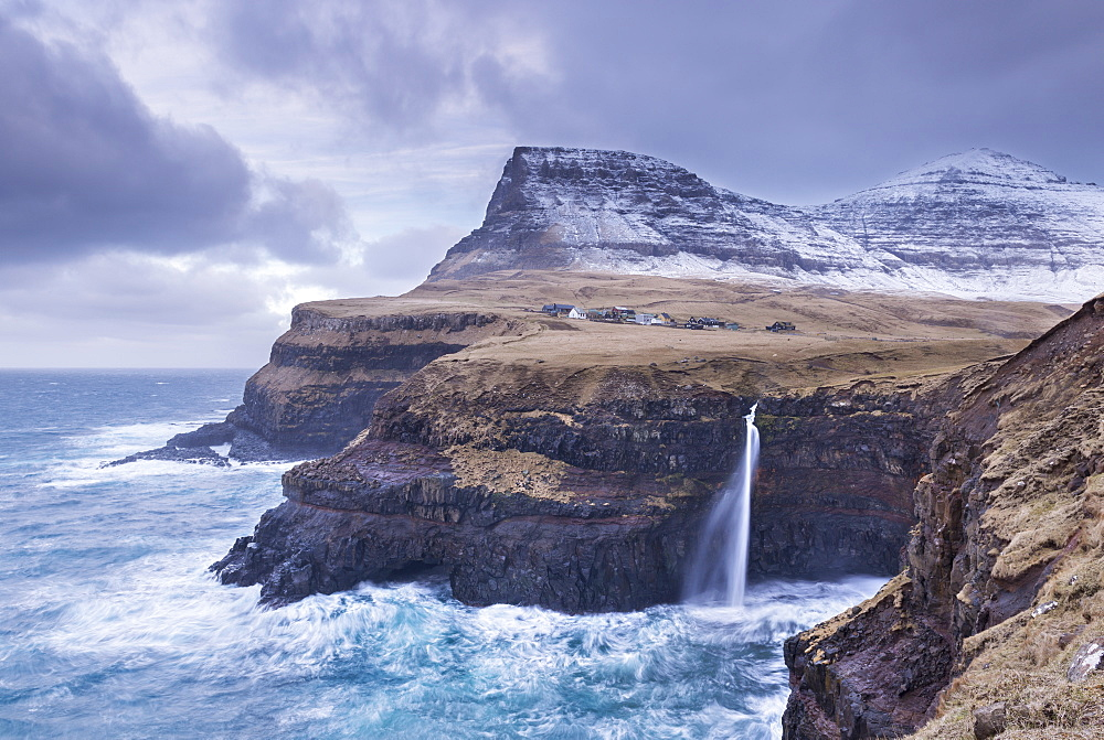 Wintry conditions at Gasadalur on the island of Vagar, Faroe Islands, Denmark, Europe