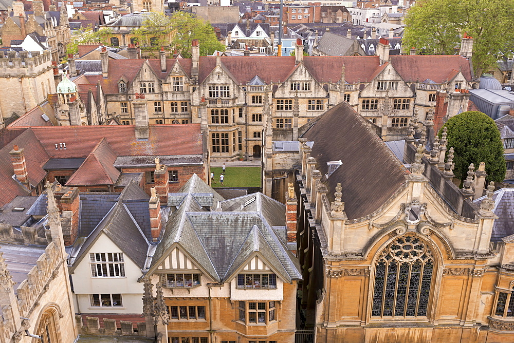 Aerial view of Brasenose College buildings in Oxford, Oxfordshire, England, United Kingdom, Europe