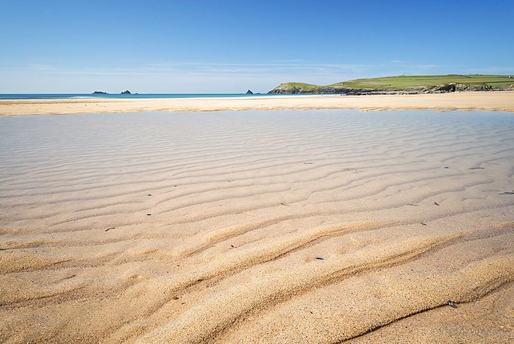 Sandy lagoon on Constantine Beach at low tide, Cornwall, England, United Kingdom, Europe