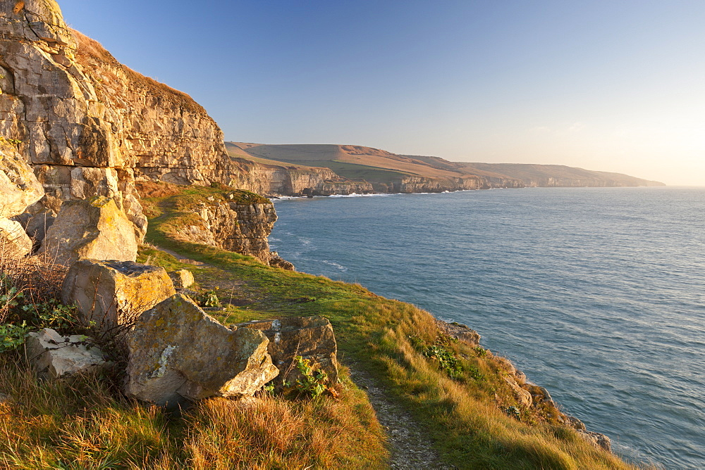 Cliff top footpath running alongside limestone cliffs, Winspit, Isle of Purbeck, Jurassic Coast, UNESCO World Heritage Site, Dorset, England, United Kingdom, Europe