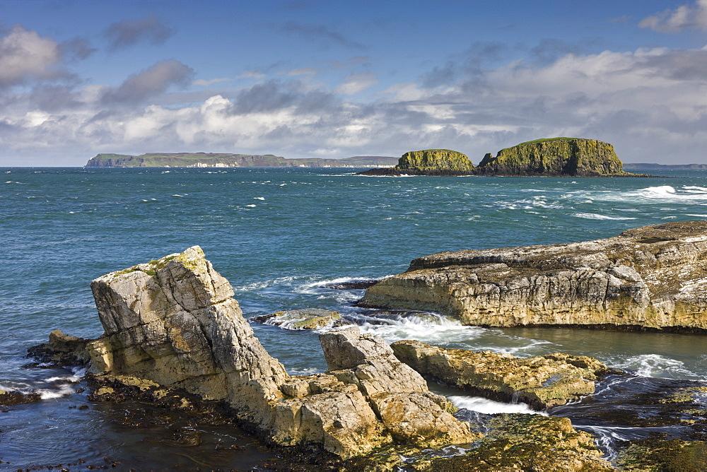 Dramatic coastline of Ballintoy on the Causeway Coast, County Antrim, Ulster, Northern Ireland, United Kingdom, Europe