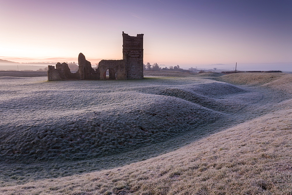Abandoned ruin of Knowlton Church at dawn on a frosty winter morning, Dorset, England, United Kingdom, Europe