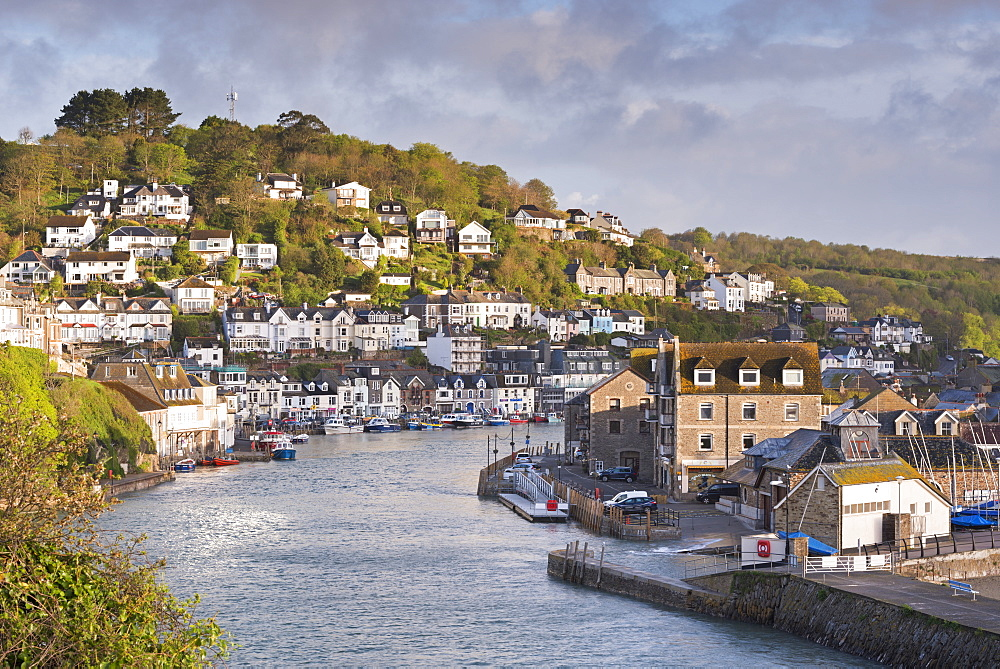 The Cornish fishing town of Looe in the morning sunshine, Cornwall, England, United Kingdom, Europe
