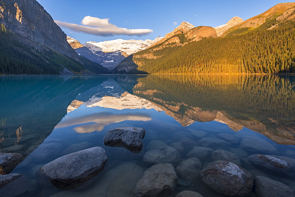 Early morning sunlight at Lake Louise in the Canadian Rockies, Banff National Park, UNESCO World Heritage Site, Alberta, Canada, North America