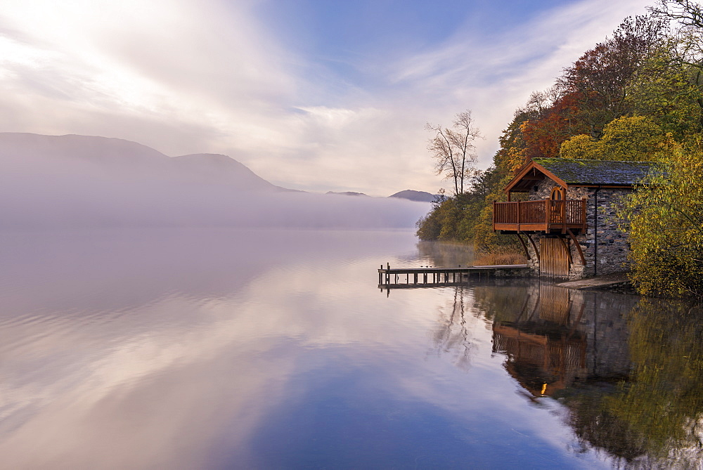 Duke of Portland Boathouse on misty Ullswater in autumn, Lake District, Cumbria, England, United Kingdom, Europe