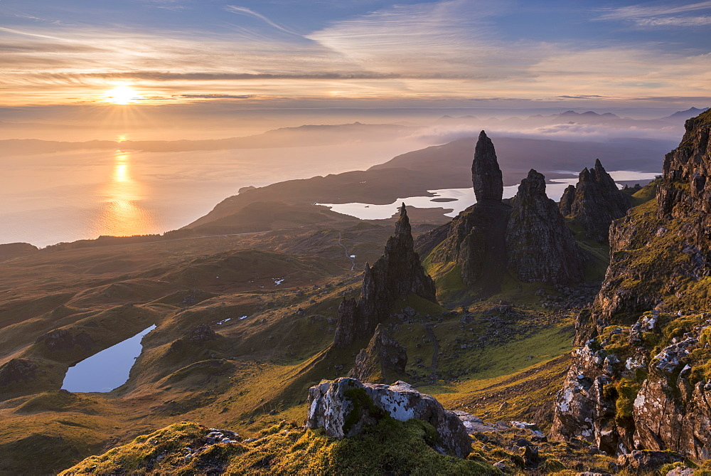 Sunrise over the spectacular Old Man of Storr basalt pinnacles on the Isle of Skye, Inner Hebrides, Scotland, United Kingdom, Europe