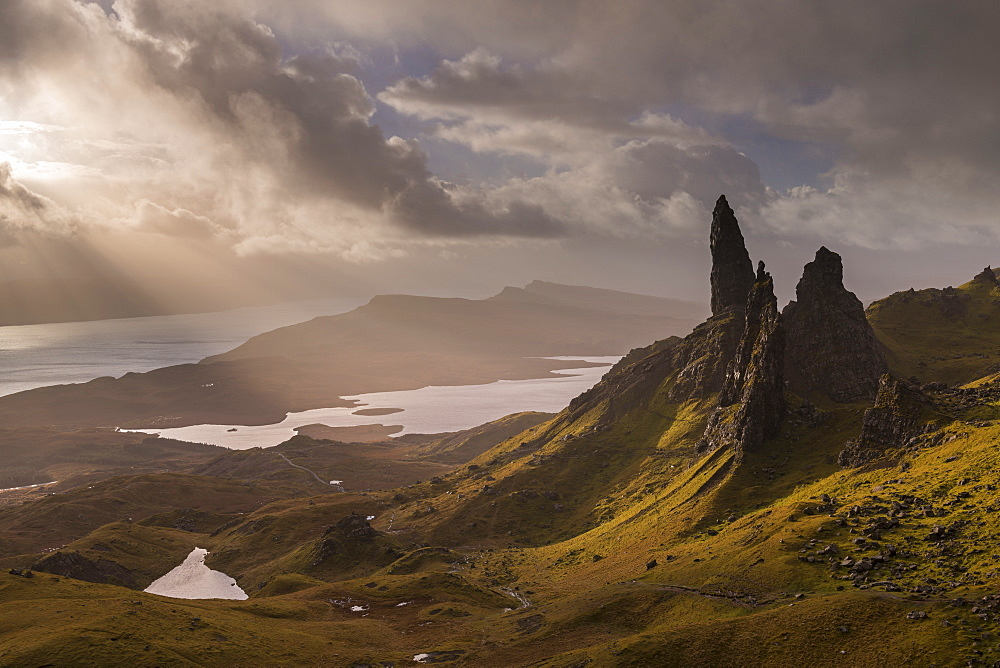 Dramatic morning light at the Old Man of Storr on the Isle of Skye, Inner Hebrides, Scotland, United Kingdom, Europe
