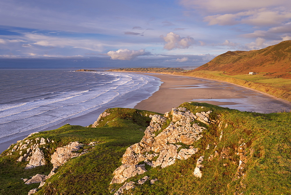 Sweeping expanse of Rhossili Bay on the Gower Peninsula, Wales, United Kingdom, Europe