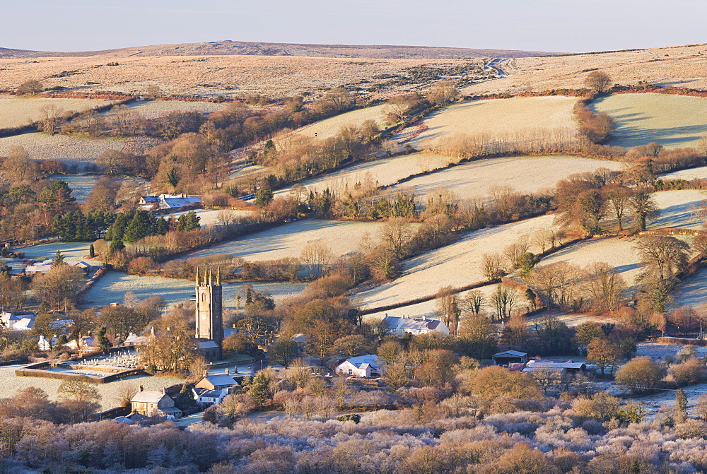 Widecombe in the Moor on a frosty winter morning, Dartmoor, Devon, England, United Kingdom, Europe