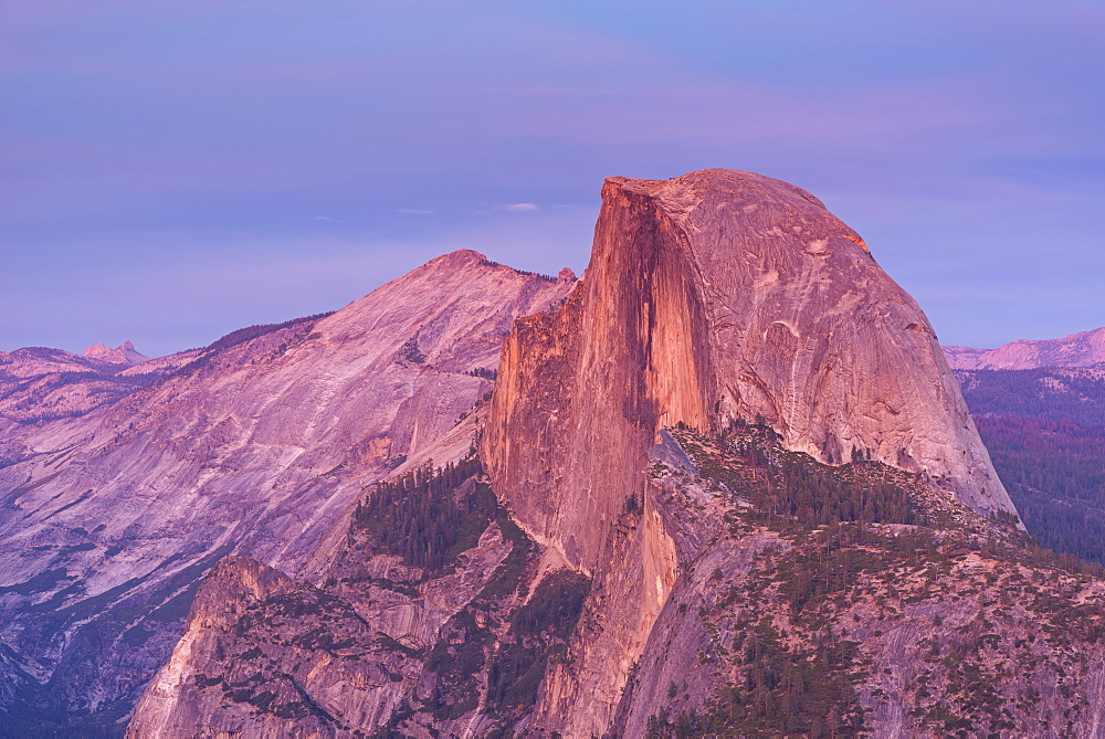 Last light glowing on the face of Half Dome from Glacier Polint, Yosemite Valley, UNESCO World Heritage Site, California, United States of America, North America