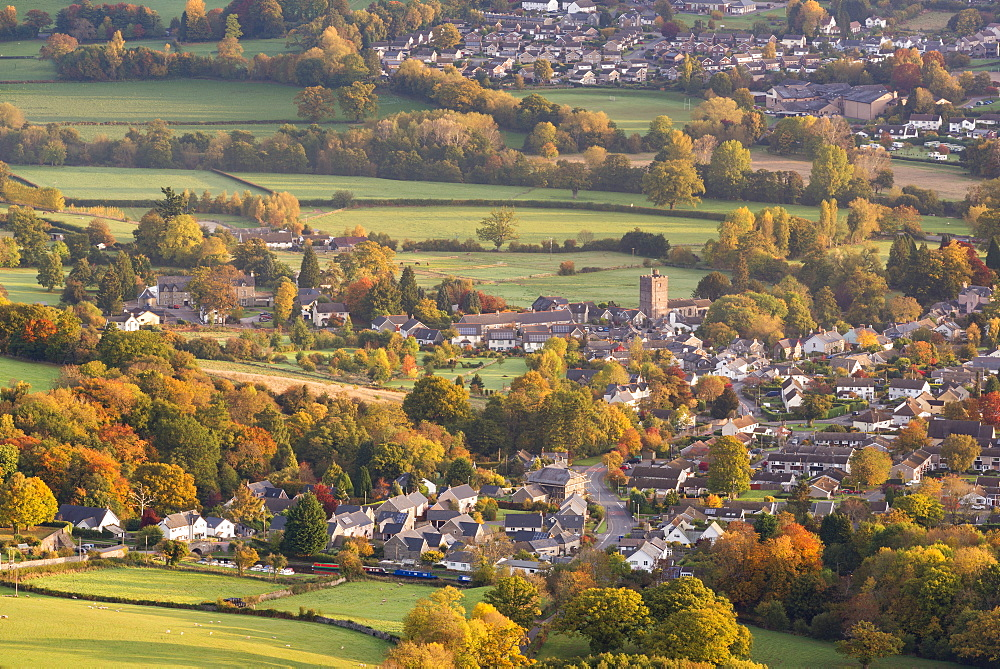 Llangattock village surrounded by autumnal foliage, Crickhowell, Brecon Beacons, Powys, Wales, United Kingdom, Europe