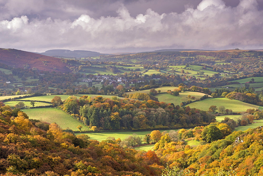 Beautiful autumn colours over the rolling countryside of Dartmoor National Park, Devon, England, United Kingdom, Europe