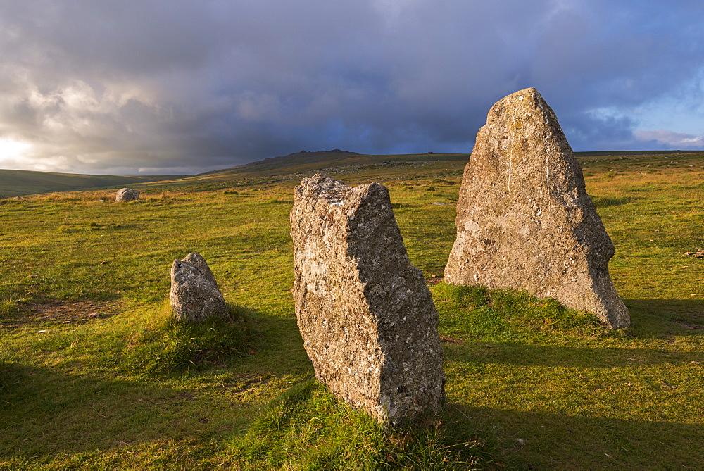 Megalithic standing stones at Merrivale, Dartmoor National Park, Devon, England, United Kingdom, Europe