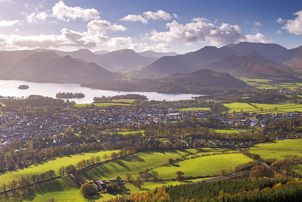 Keswick and Derwent Water on a bright autumnal afternoon, Lake District National Park, Cumbria, England, United Kingdom, Europe