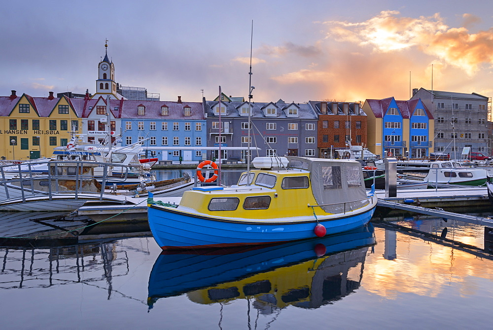 Boats in Torshavn harbour at sunrise, Faroe Islands, Denmark, Europe