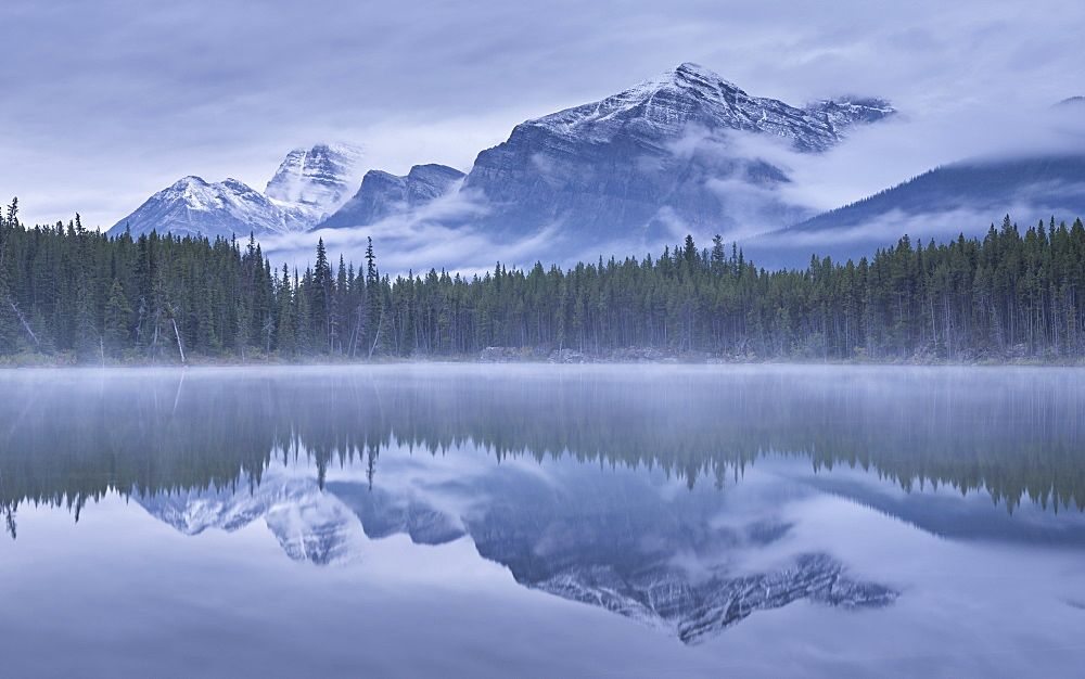 Dramatic Canadian Rockies mountain vista reflected in Herbert Lake, Banff National Park, UNESCO World Heritage Site, Alberta, Canada, North America