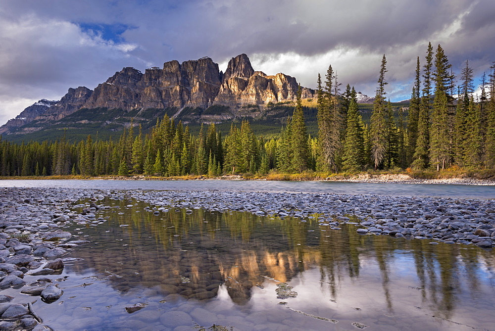 Evening sunlight on Castle Mountain in the Canadian Rockies, Banff National Park, UNESCO World Heritage Site, Alberta, Canada, North America
