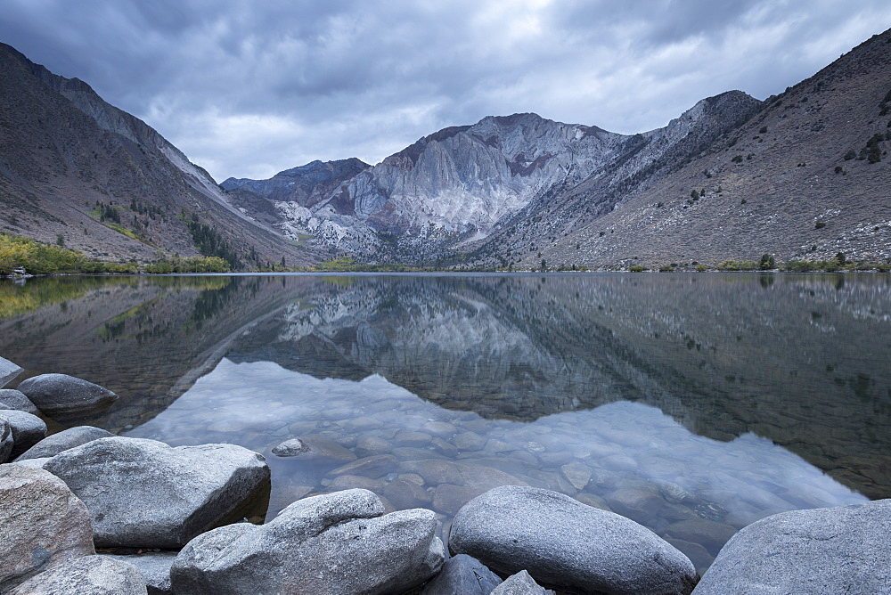 Tranquil grey morning at Convict Lake in the Eastern Sierras, California, United States of America, North America