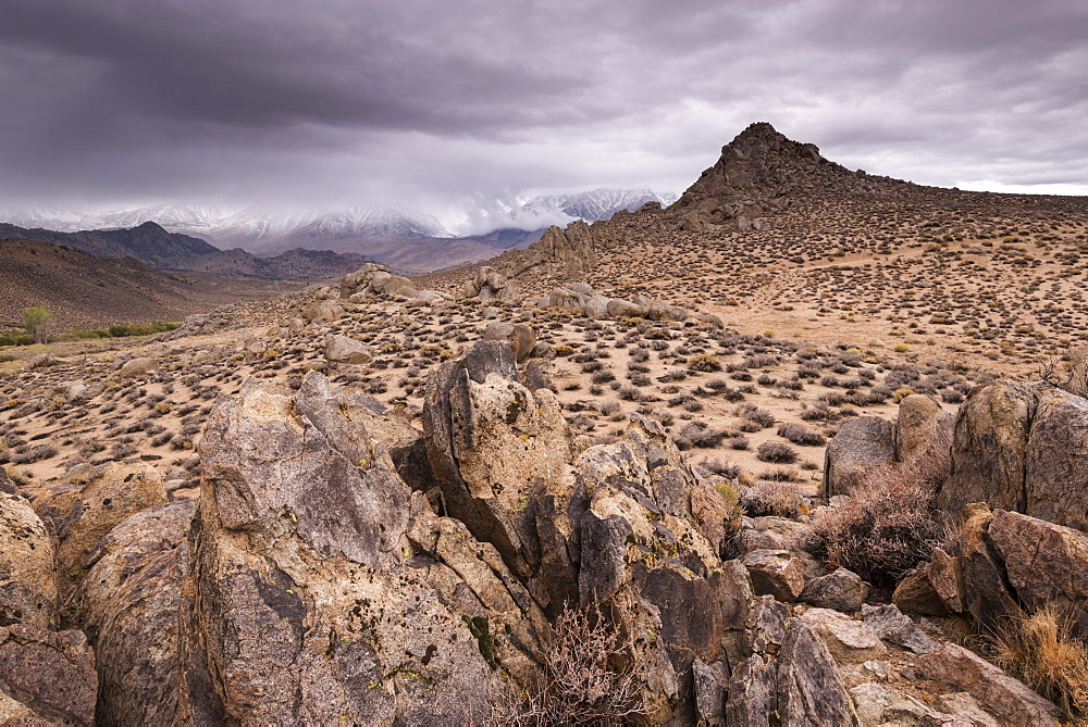 Stormy sky over Buttermilk Hills near Bishop, California, United States of America, North America