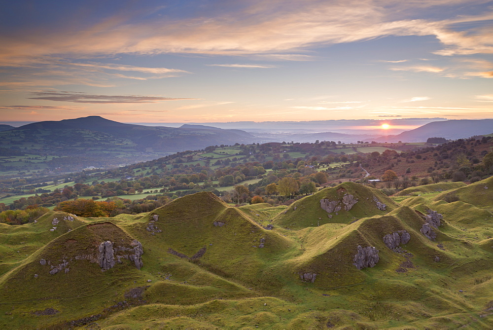 Sunrise from Llangattock Escarpment in the Brecon Beacons National Park, Powys, Wales, United Kingdom, Europe