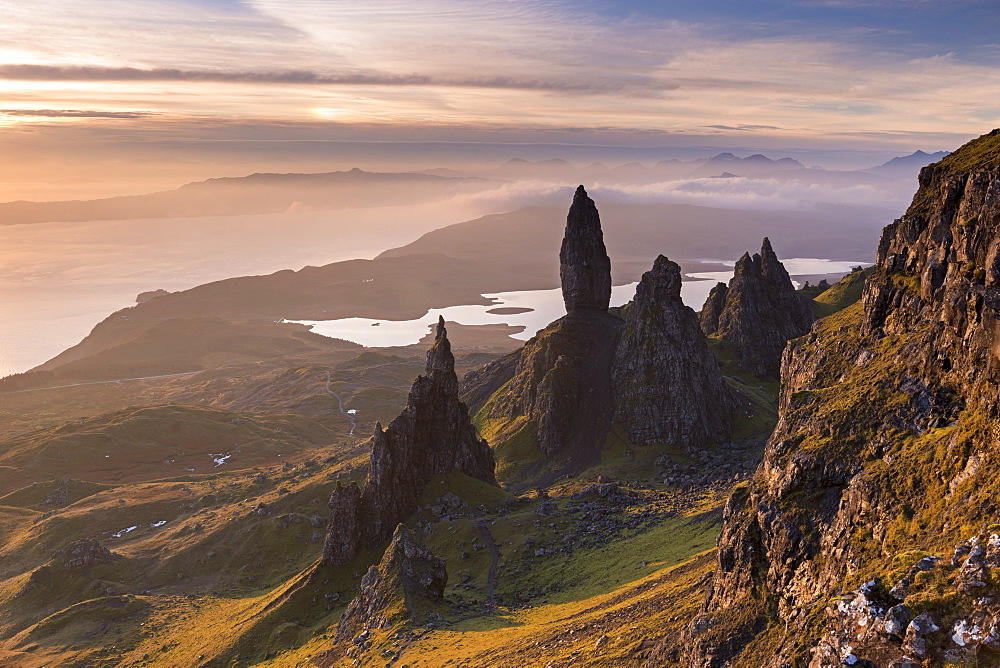 Beautiful morning light over the Old Man of Storr on the Isle of Skye, Inner Hebrides, Scotland, United Kingdom, Europe