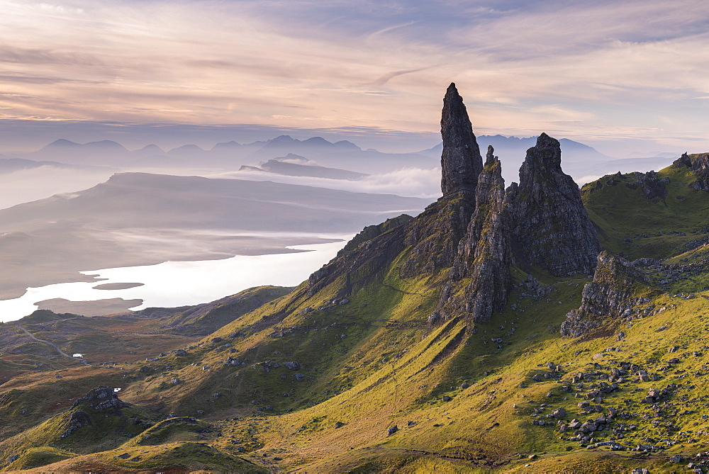 Beautiful early morning light at the Old Man of Storr on the Isle of Skye, Inner Hebrides, Scotland, United Kingdom, Europe