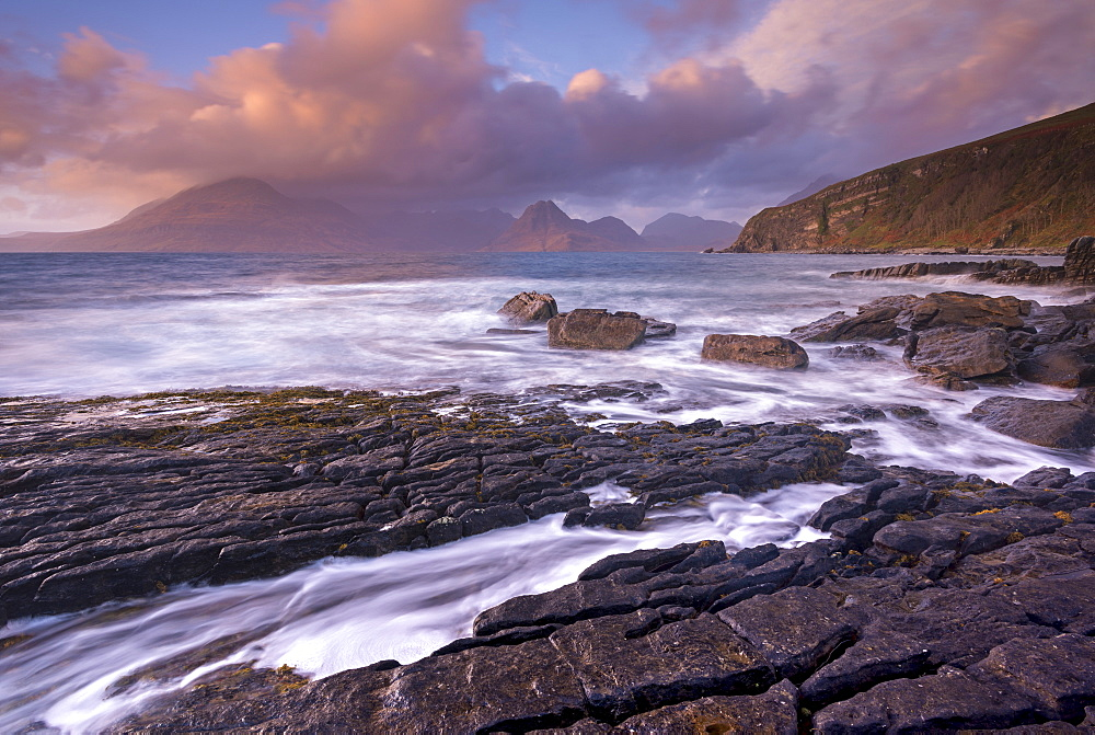 Dramatic coastal scenery at Elgol on the Isle of Skye, Inner Hebrides, Scotland, United Kingdom, Europe