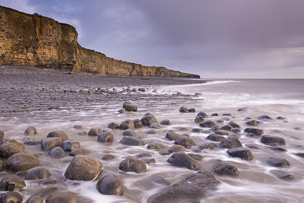 Rocks, ledges and distinctive cliffs at Llantwit Major Beach on the Glamorgan Heritage Coast, Wales, United Kingdom, Europe