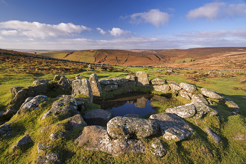 Bronze Age hut circle in Grimspound, Dartmoor National Park, Devon, England, United Kingdom, Europe