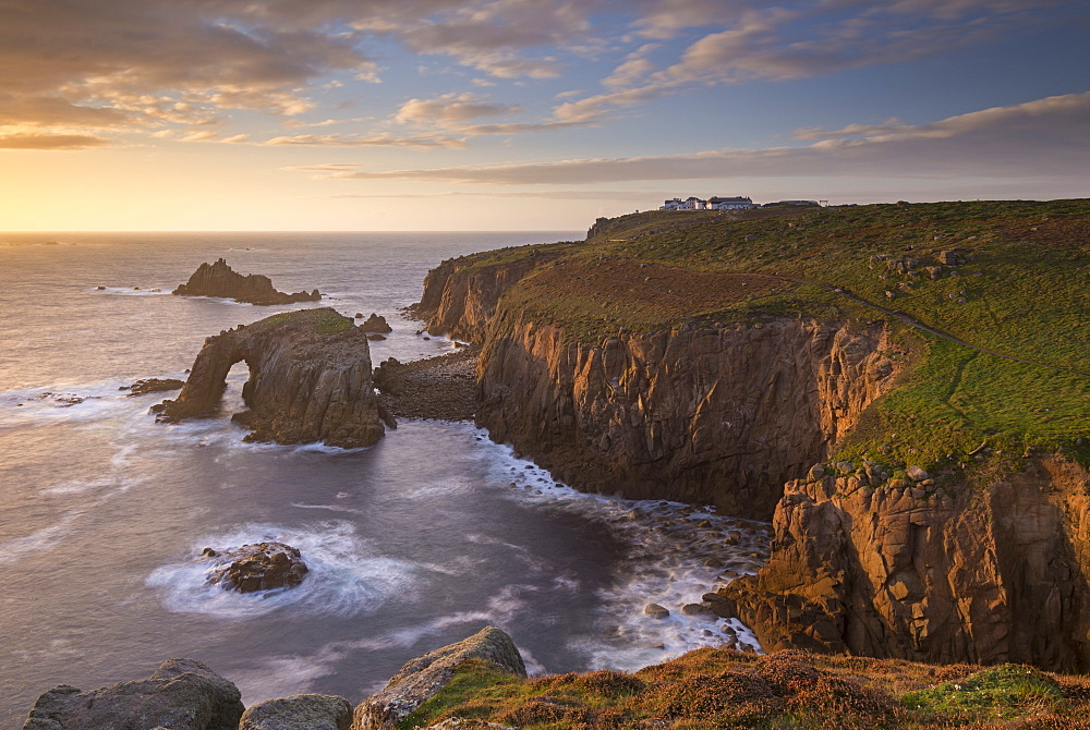 Sunset over Land's End on the western tip of Cornwall, England. Autumn (September) 2016.