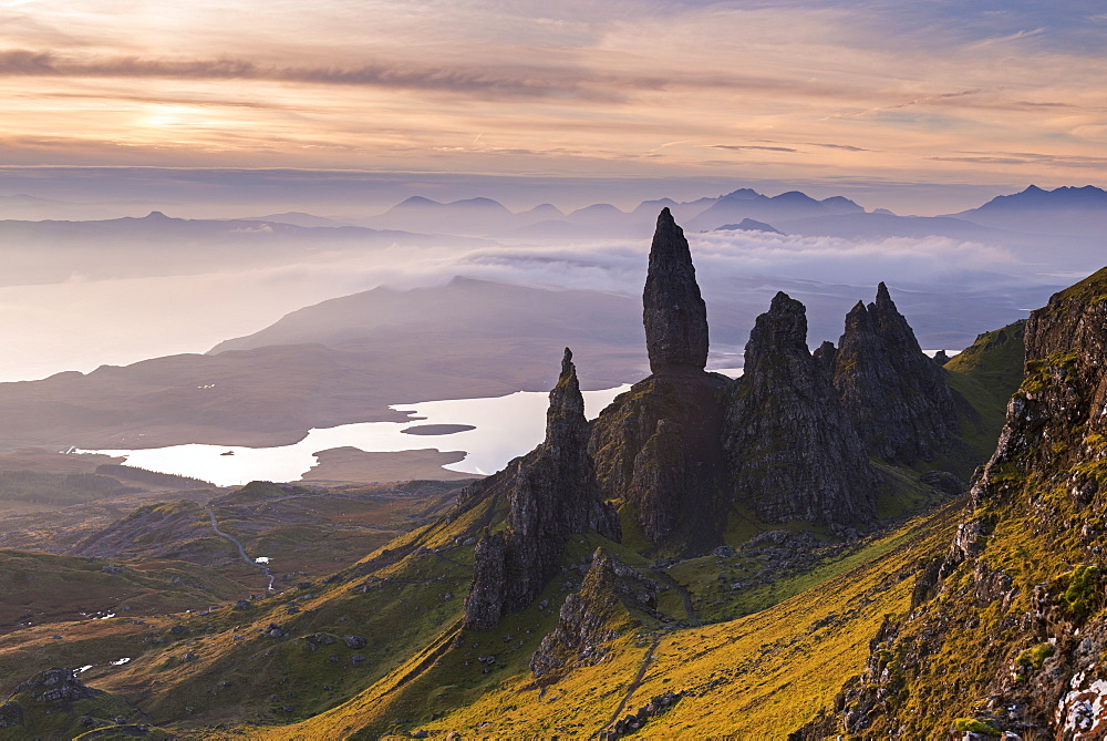 Spectacular mountain scenery at the Old Man of Storr on the Isle of Skye, Scotland, UK. Autumn (November) 2015.