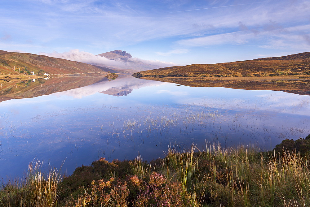 Perfect reflections at Loch Fada on the Isle of Skye, Scotland, UK. Autumn (November) 2015.