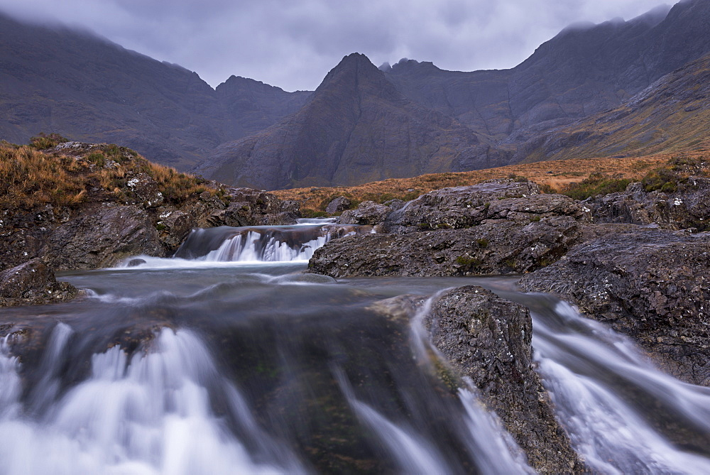 The Black Cuillin mountains from the Fairy Pools in Glen Brittle, Isle of Skye, Inner Hebrides, Scotland, United Kingdom, Europe