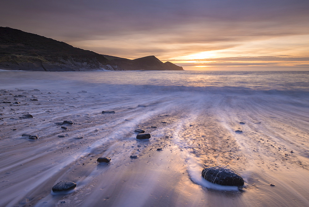 Sunset over Crackington Haven Beach, North Cornwall, England, United Kingdom, Europe - 799-3295