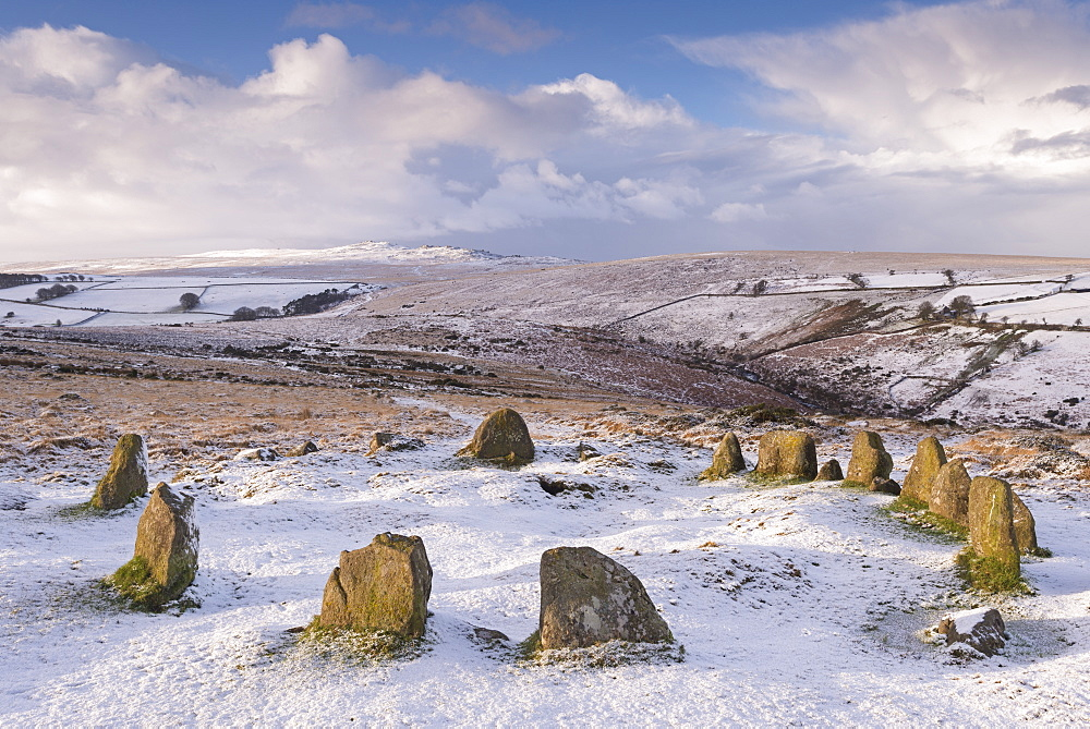 Snow covered Nine Maidens cairn circle on Belstone Common, Dartmoor, Devon, England. Winter (January) 2016.