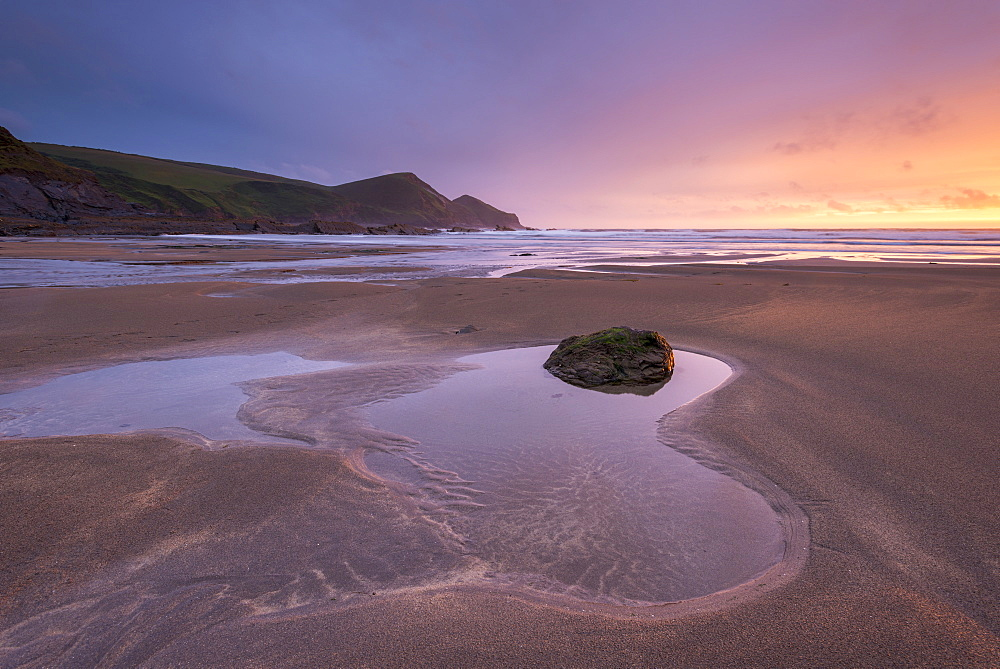 Low tide on Crackington Haven beach at sunset, Cornwall, England, United Kingdom, Europe