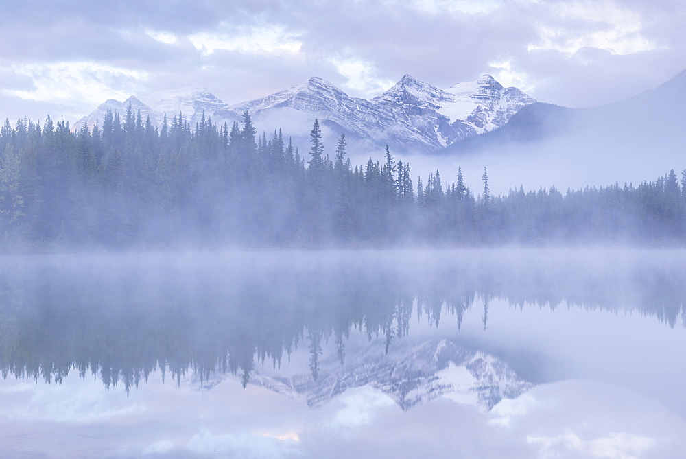 Snow capped mountains reflect in a misty Herbert Lake, Canadian Rockies, Banff National Park, Alberta, Canada. Autumn (September