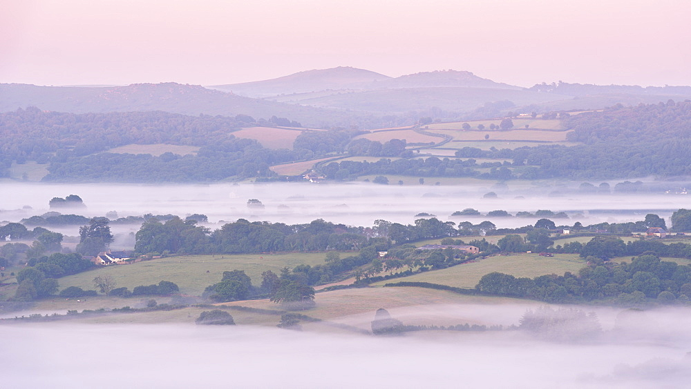 Mist covered rolling countryside at dawn near Moretonhampstead, Dartmoor National Park, Devon, England, United Kingdom, Europe